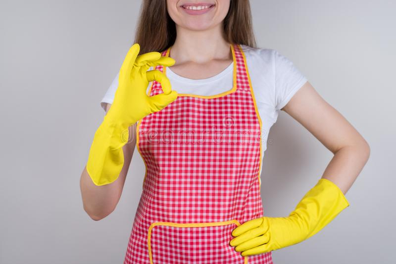 I do my work well hotel concept. Cropped close up photo of excited positive optimistic worker making okay good symbol satisfied. With job she finished isolated royalty free stock photos