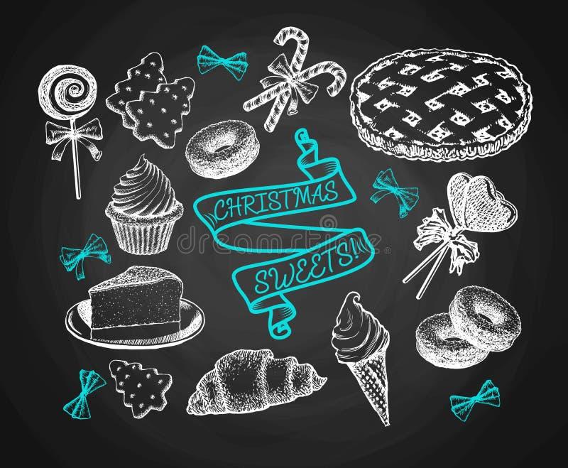 I dolci messi schizzano sul fondo della lavagna Dolci di festa, torte, biscotti, gelato e vettore dell'annata dei biscotti royalty illustrazione gratis