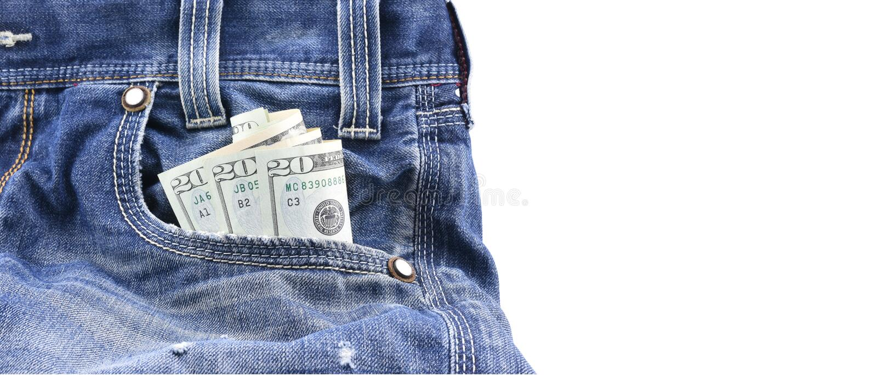 I dollari americani o i soldi in jeans blu del denim intascano, concetto sui soldi dei guadagni, soldi di risparmio immagini stock libere da diritti