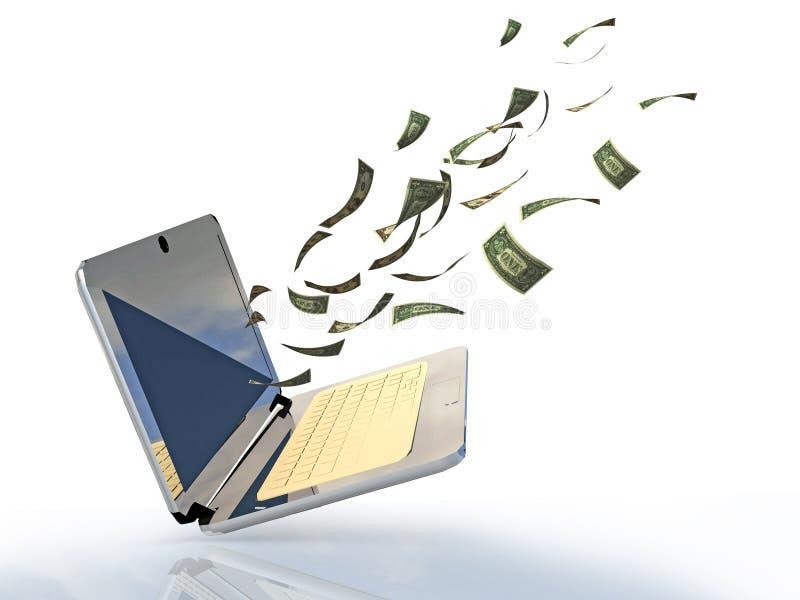I dollari dei soldi dello schermo del computer portatile guadagnano da Internet - la rappresentazione 3d illustrazione di stock