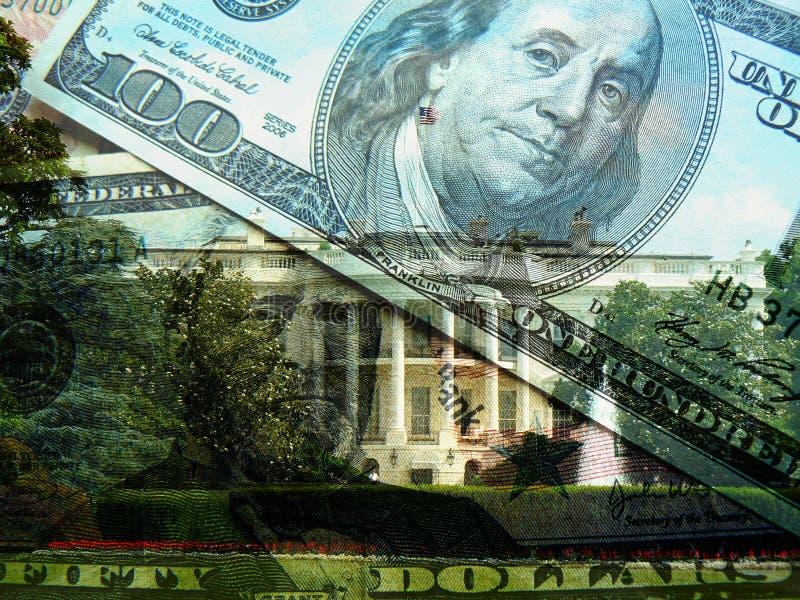 I dollari di Stati Uniti e della Casa Bianca fotografia stock libera da diritti