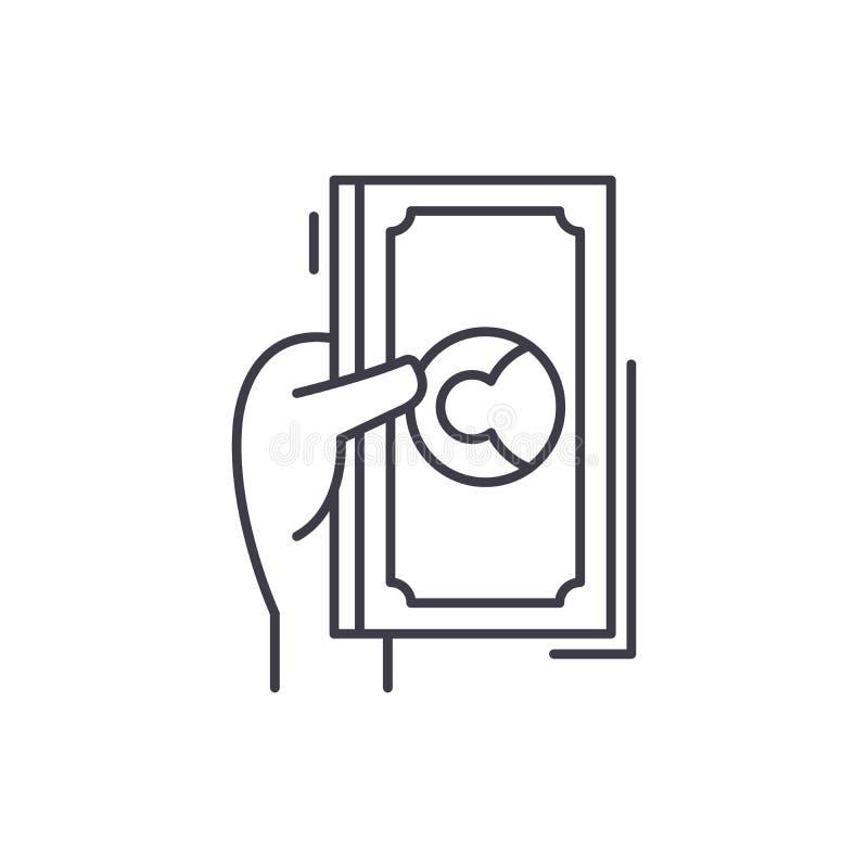 I dollari ed i centesimi allineano il concetto dell'icona Illustrazione lineare di vettore dei centesimi e dei dollari, simbolo,  royalty illustrazione gratis
