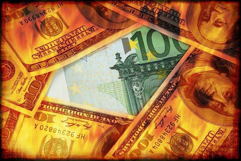 I dollari stanno bruciando fotografia stock