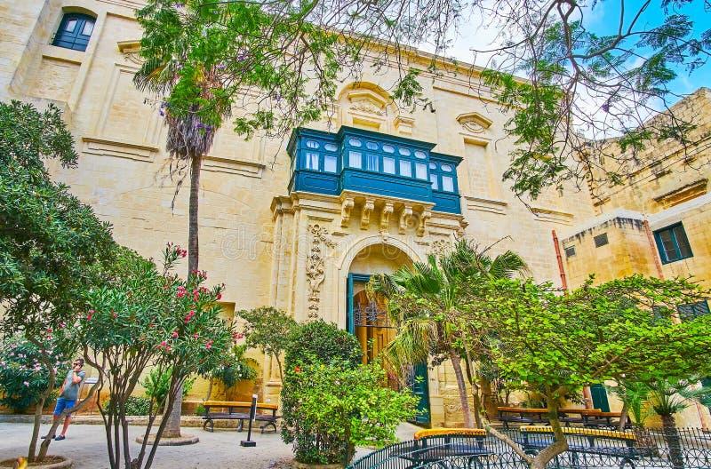 I domstol för ` s för prins Alfred av slotten för Grandmaster` s Valletta, Malt royaltyfria bilder