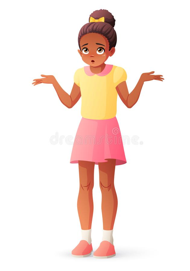 Confused young African American girl shrugging shoulders. Isolated vector illustration. royalty free illustration