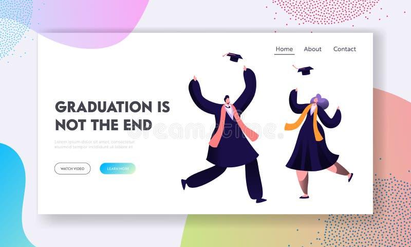 I dottorandi felici celebrano il certificato del diploma e la conclusione di istruzione in università Cappuccio accademico del ti illustrazione vettoriale