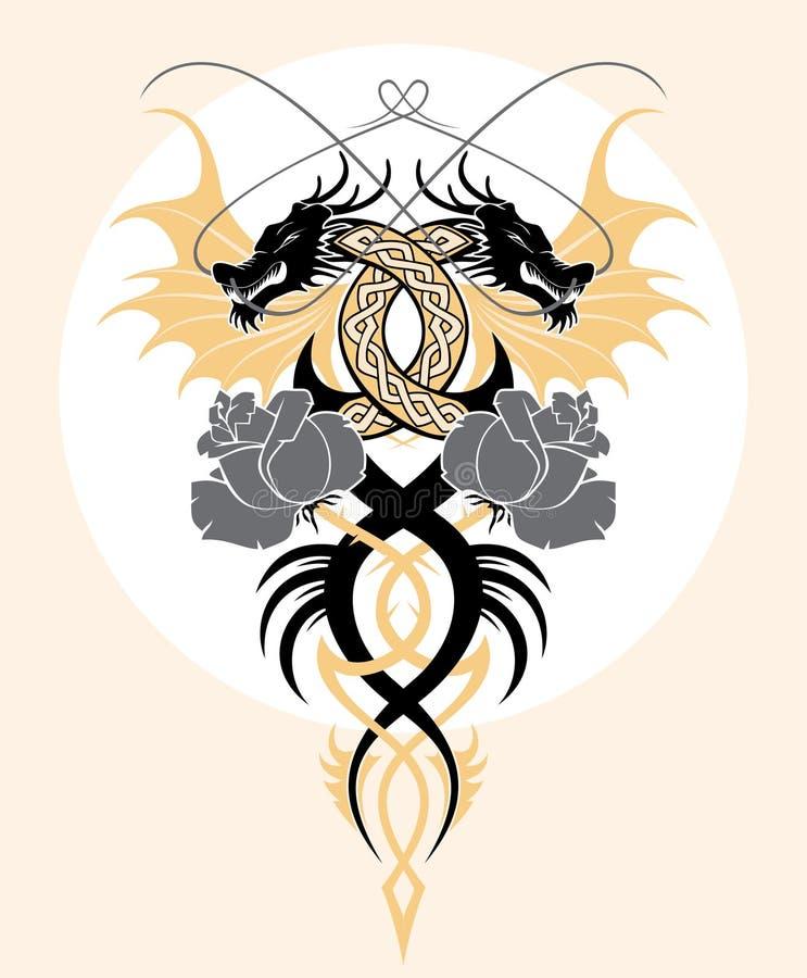I draghi e sono aumentato illustrazione vettoriale