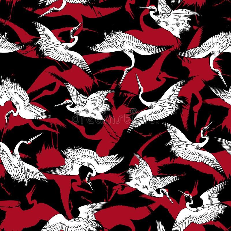 Japanese style crane pattern, vector illustration