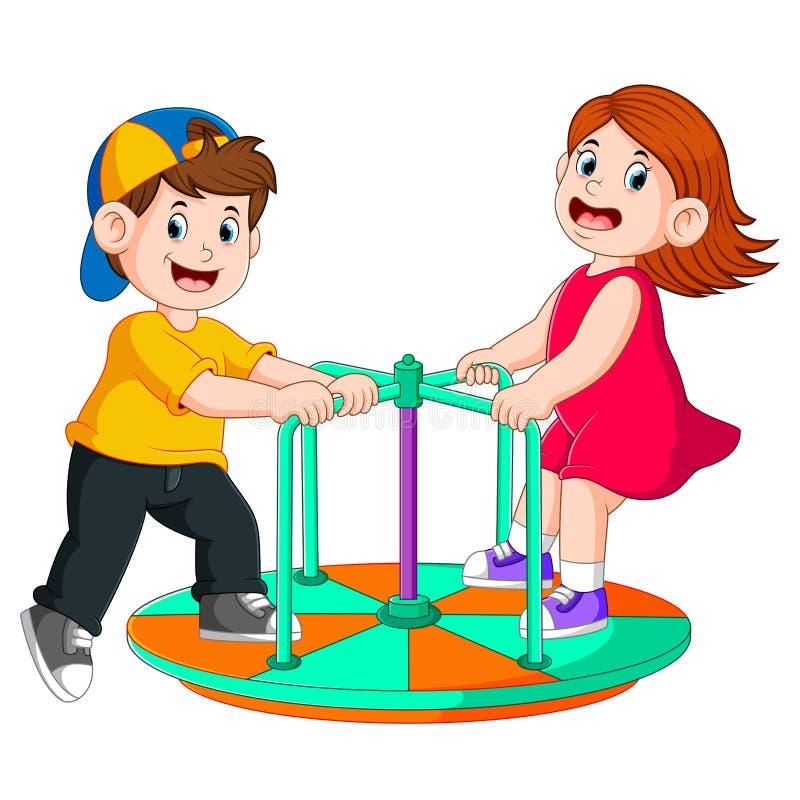 I due bambini stanno giocando sulla barca rotonda illustrazione vettoriale