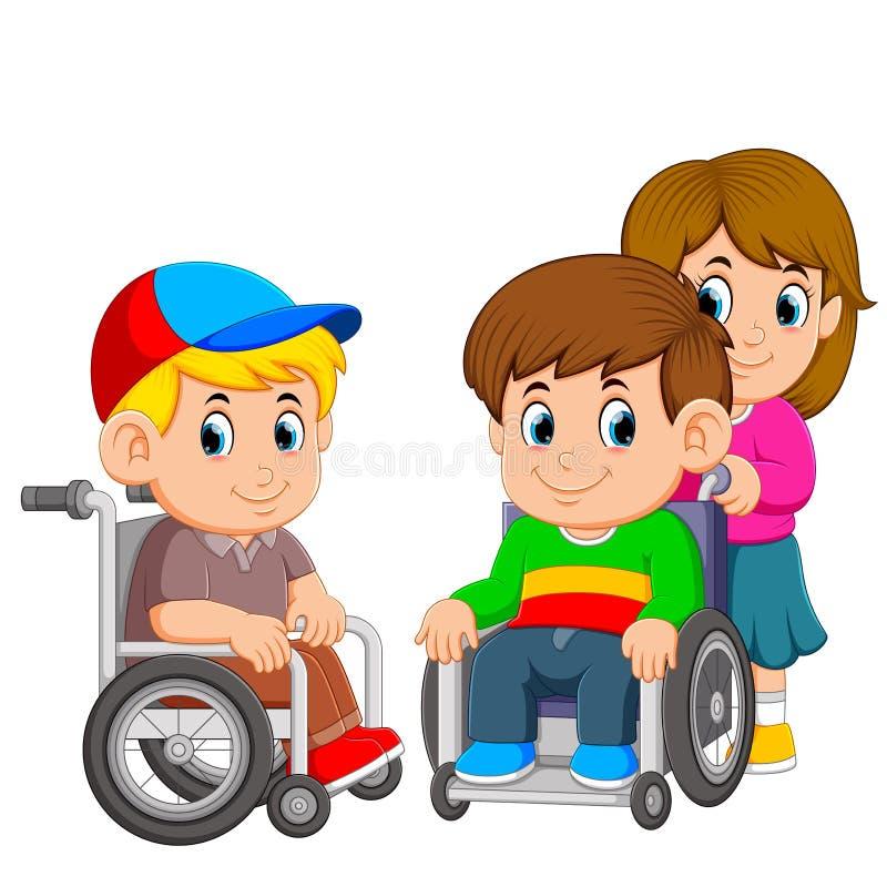 i due ragazzi stanno usando la sedia a rotelle con la ragazza lo spingono illustrazione vettoriale