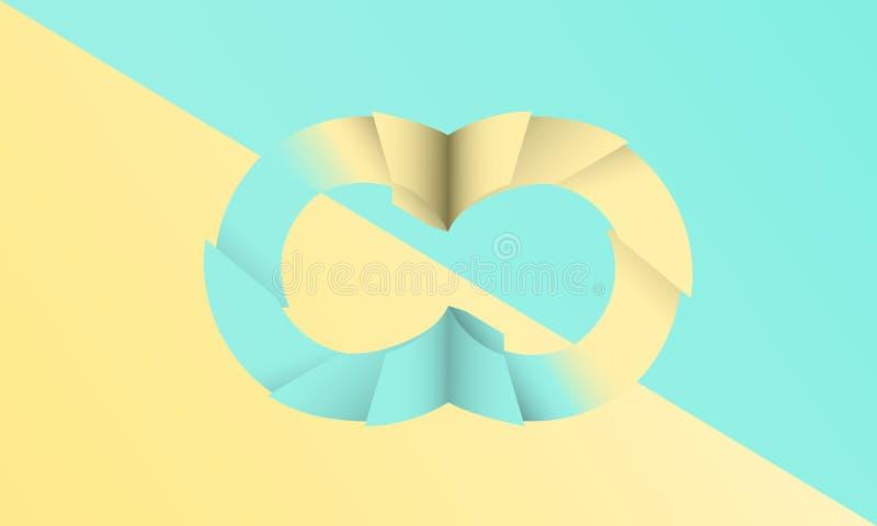 I due toni colorano i pastelli verdi e gialli e la progettazione tagliata di carta del fondo dell'estratto illustrazione vettoriale