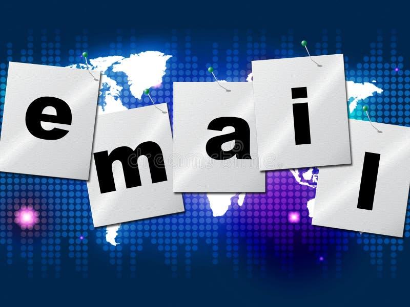 I email inviano con la posta elettronica indica inviano il messaggio e comunicano illustrazione vettoriale