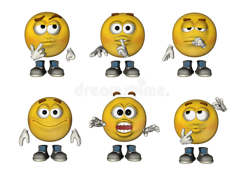 i Emoticons 3D hanno impostato 3 illustrazione di stock