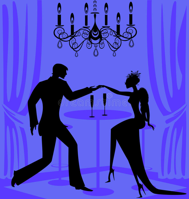 lila romantisk cafe stock illustrationer