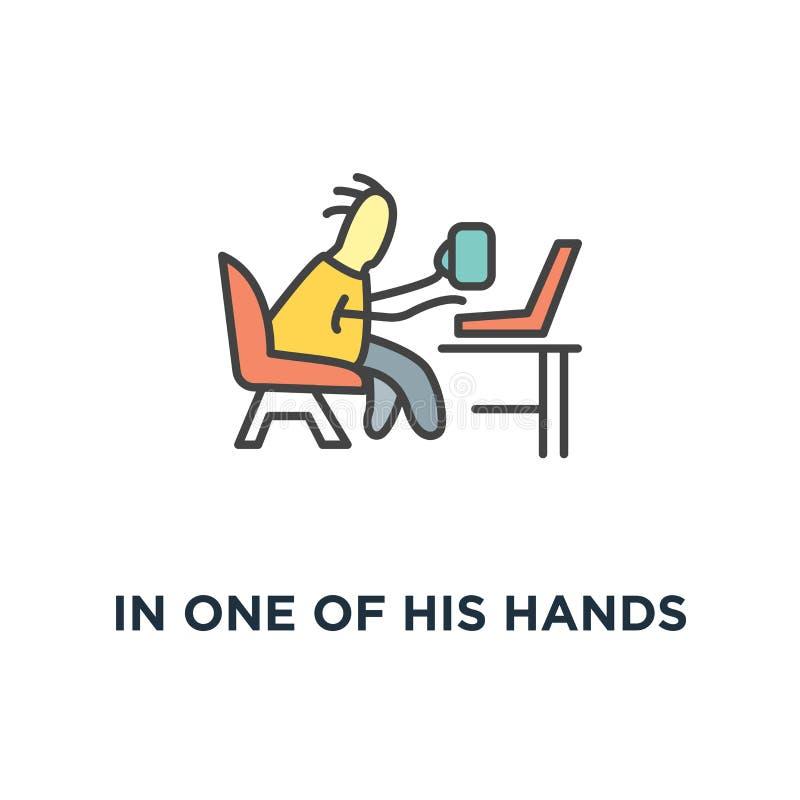 i en av hans händer är rånar med kaffe, den frilans- symbolen, gulligt roligt tecken som sitter på fåtöljen och att prata via bär royaltyfri illustrationer