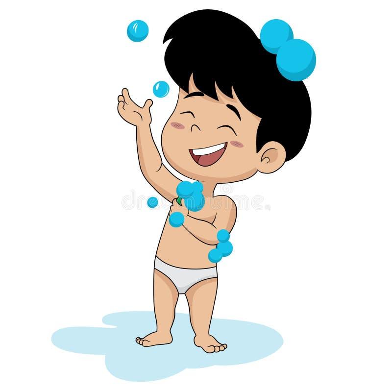 I en morgon tar ungen ett bad vektor illustrationer