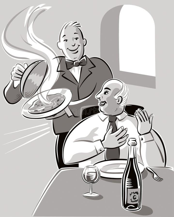 I en restaurang stock illustrationer