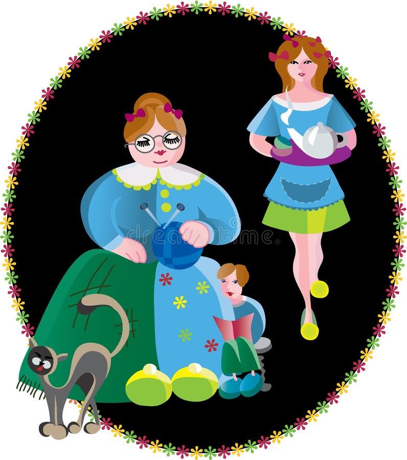 I et mon famille illustration stock