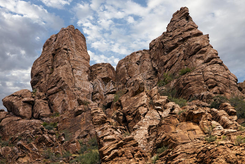 I Evergreens si sviluppano dal fianco di una montagna roccioso fotografia stock