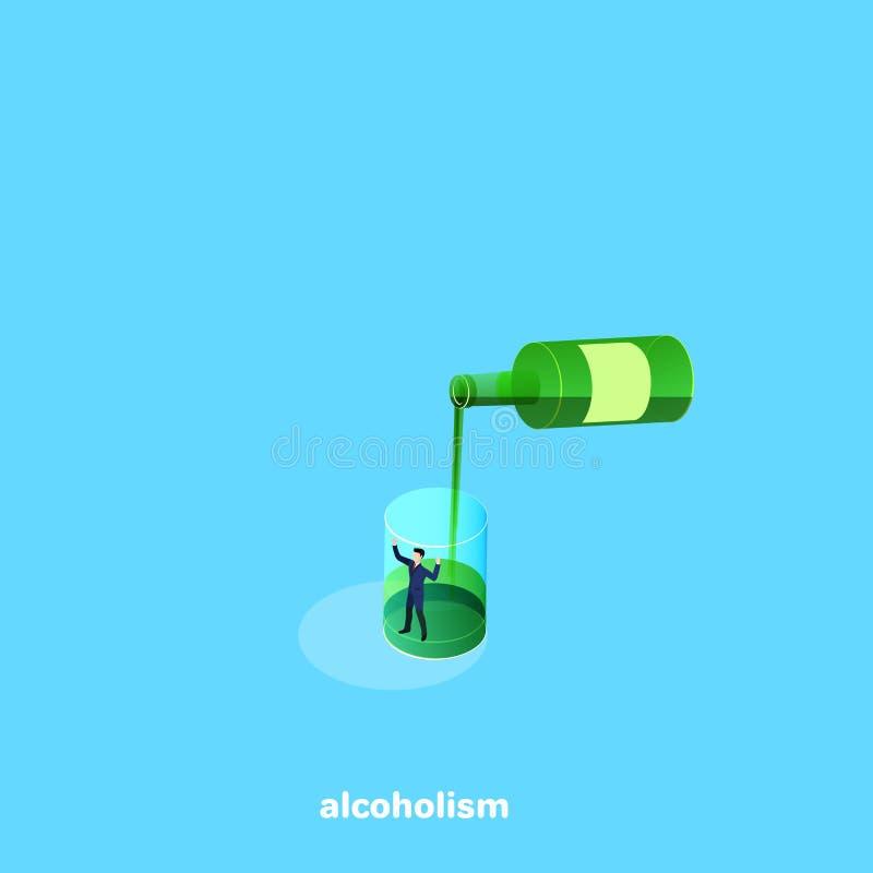 I exponeringsglaset är en man i en affärsdräkt, och överst av flaskan häller alkoholdrycken stock illustrationer