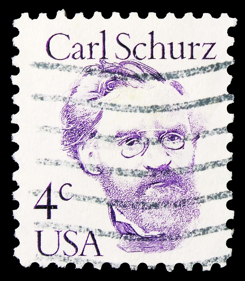 I Förenta staterna har man i posterstämpeln, Carl Schurz, Stora amerikanerna, circa 1983. arkivbild