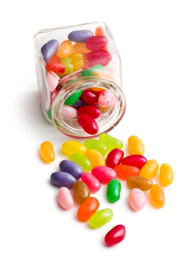 Fagioli di gelatina in barattolo di vetro immagine stock
