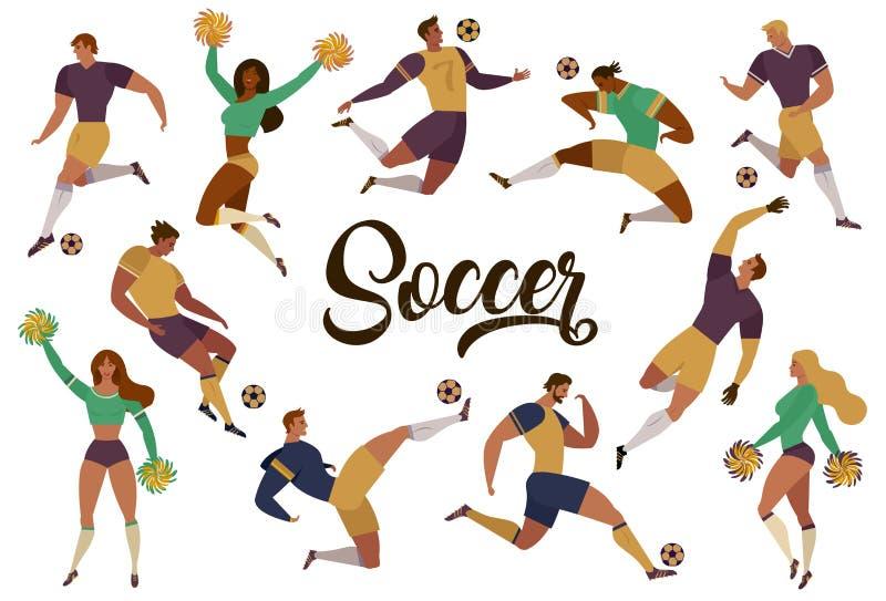 I fan delle ragazze pon pon dei calciatori di calcio hanno messo delle figure umane isolate con i segni del merch dell'illustrazi