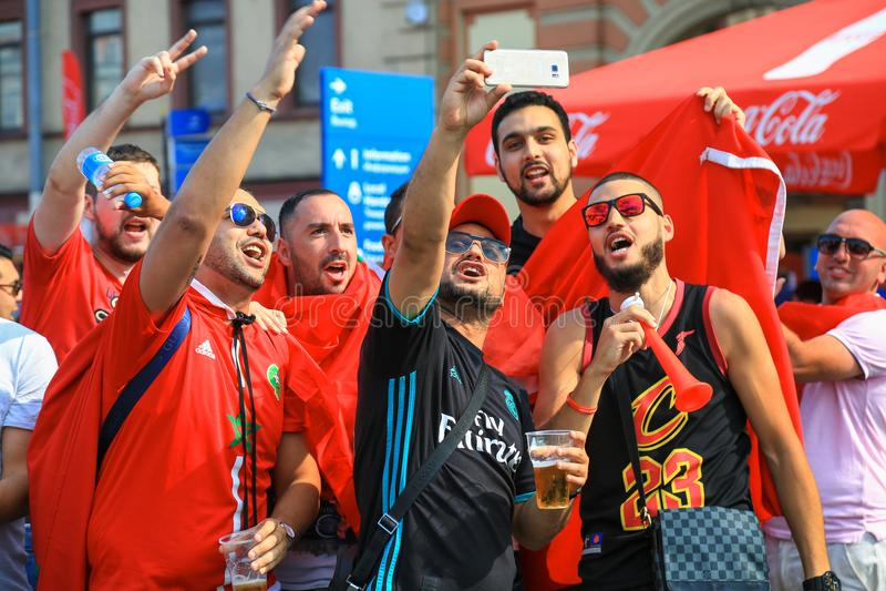 I fan marocchini celebrano lo scopo della squadra di football americano del cittadino del Marocco fotografia stock libera da diritti