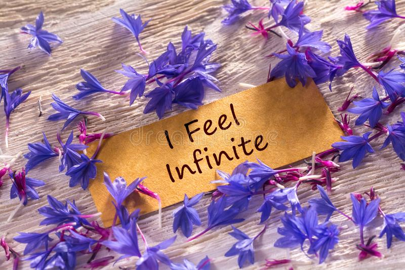 I Feel Infinite. In looking memo on white wood with beautiful blue flowers around royalty free stock image