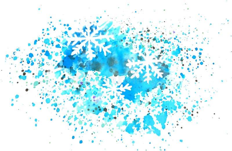 I fiocchi di neve astratti e spruzza dell'acquerello su fondo bianco fotografie stock