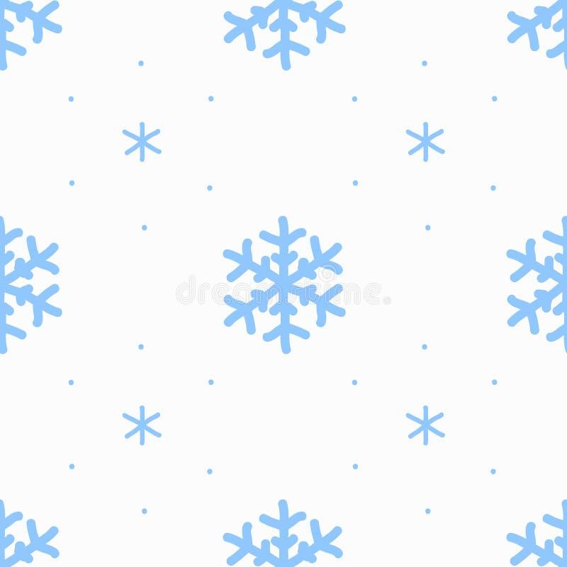 I fiocchi di neve del segno del disegno della mano blu sul modello senza cuciture del fondo bianco hanno isolato Priorit? bassa d illustrazione di stock