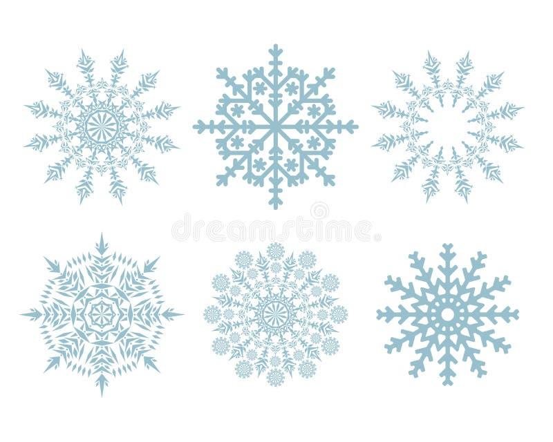 I fiocchi di neve di natale hanno impostato isolato illustrazione vettoriale