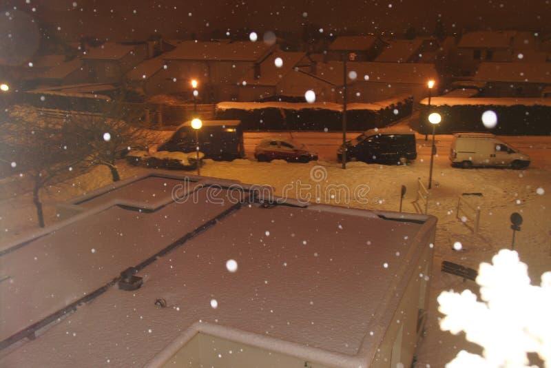 I fiocchi di neve di notte - Francia immagini stock libere da diritti
