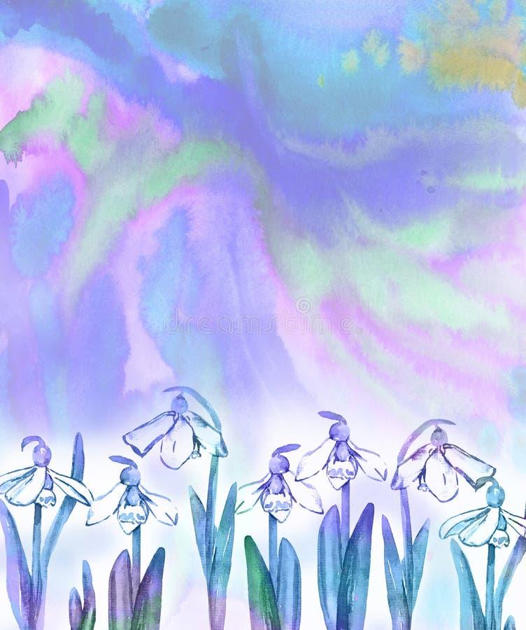 I fiori bianchi di bucaneve sull'estratto variopinto spruzza il fondo in tavolozza di colore blu e verde royalty illustrazione gratis