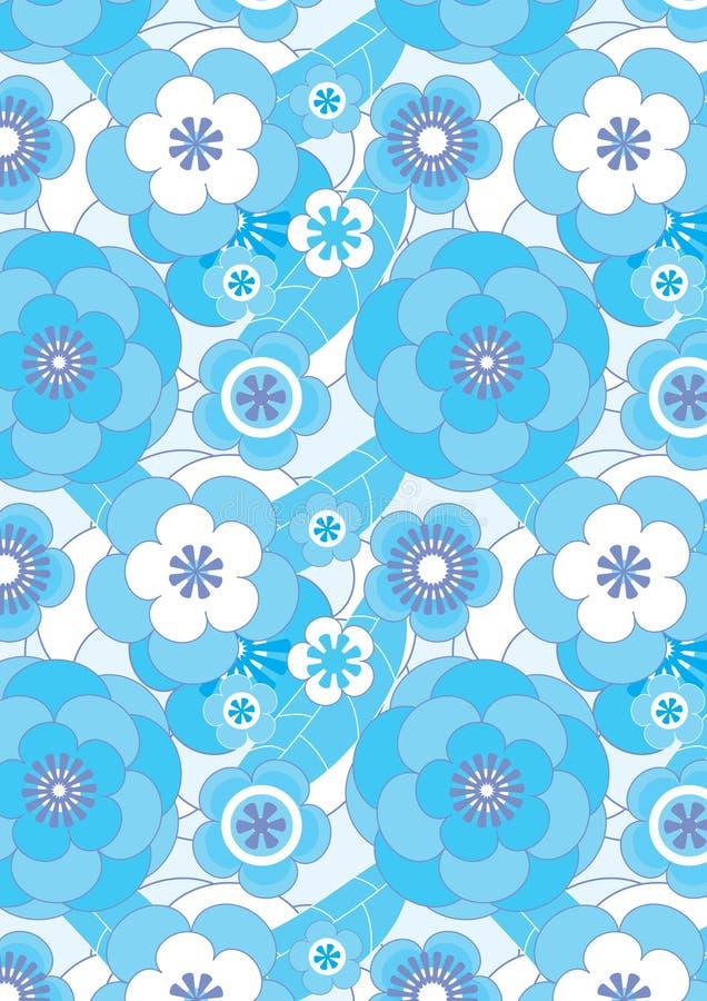 I fiori blu fioriscono Pattern_eps senza giunte illustrazione di stock