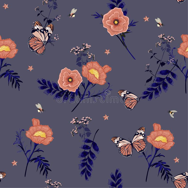 I fiori botanici rosa con la farfalla e le api floreali della retro molla romantica dell'illustrazione e del dilicate di fioritur illustrazione di stock