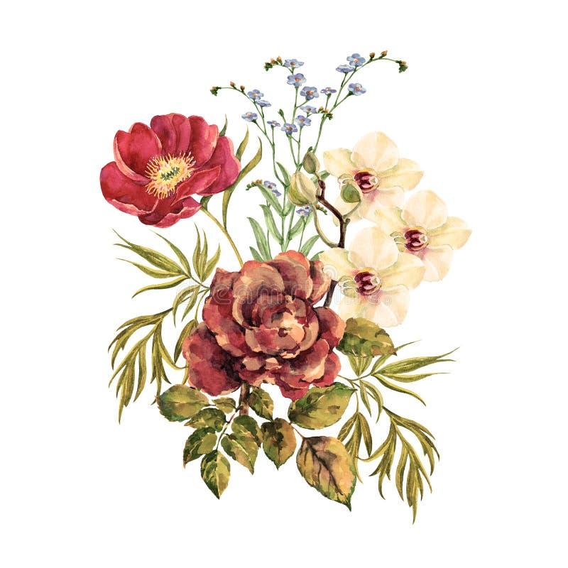 I fiori del mazzo sono aumentato con l'orchidea e la peonia bianche dell'acquerello royalty illustrazione gratis