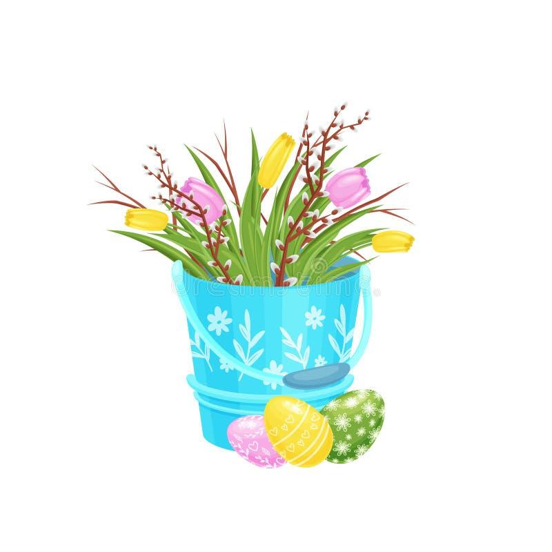 I fiori del tulipano ed i rami del purulento-salice in secchio blu, hanno dipinto le uova di Pasqua sul pavimento Festa della pri illustrazione vettoriale