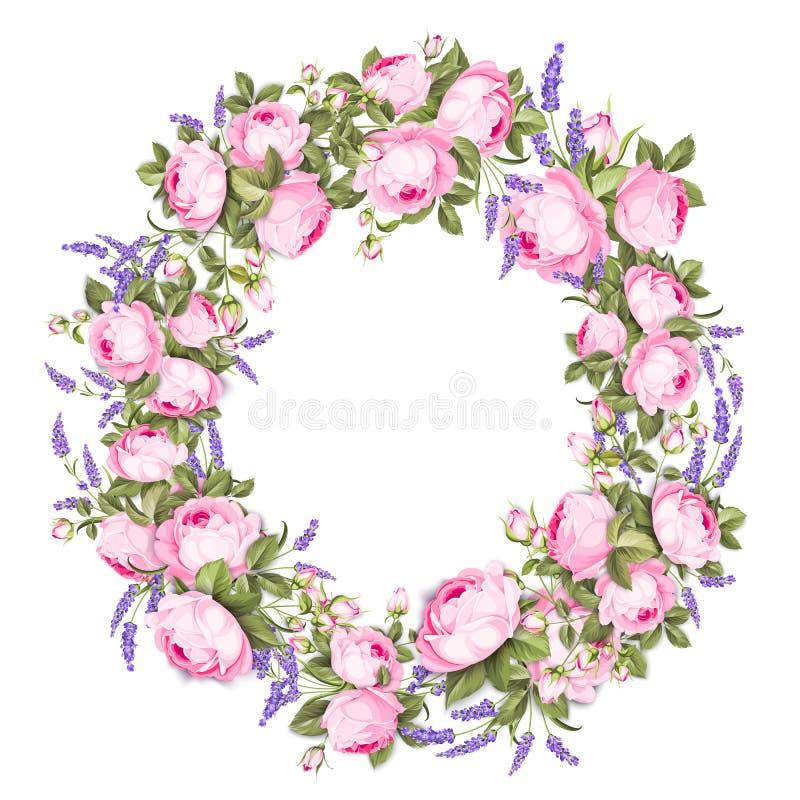 I fiori dell'estate circondano la struttura con i germogli svegli della lavanda e della rosa su fondo bianco Corona del fiore di  illustrazione vettoriale