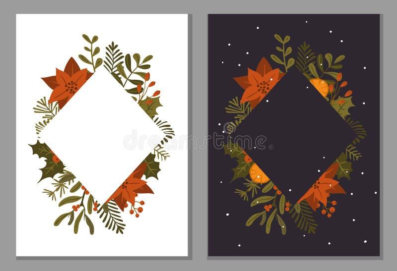 I fiori delle piante del fogliame dell'inverno di Natale lascia i rami e le bacche rosse struttura su struttura scura e bianca, t illustrazione vettoriale