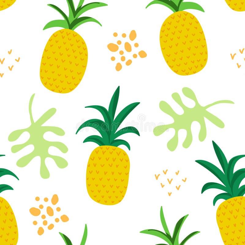 I fiori e le foglie tropicali modellano, copertura esotica dell'estate, fondo senza cuciture degli ananas retro illustrazione di stock