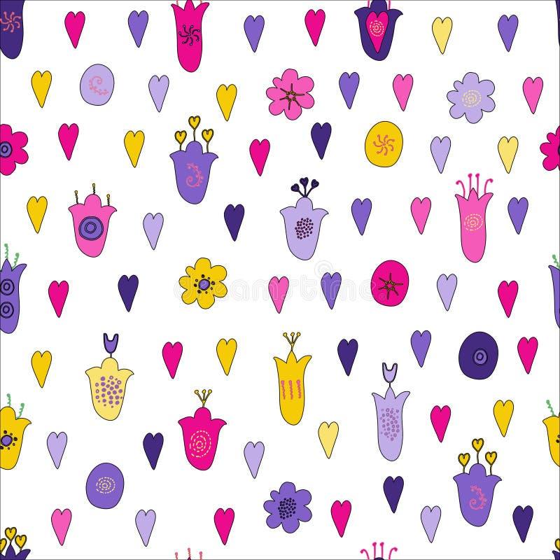 I fiori ed i cuori disegnati a mano scarabocchiano il modello senza cuciture Rosa, fiori porpora, gialli, viola Stile ingenuo, mo royalty illustrazione gratis