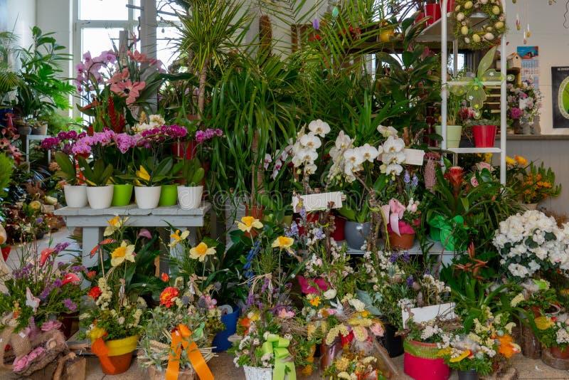 I fiori ed i mazzi stanno in un negozio del fiorista fotografia stock