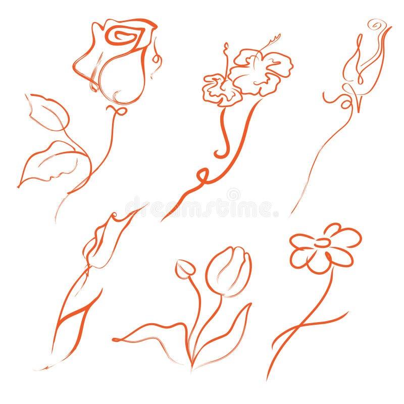 I fiori progettano l'insieme illustrazione vettoriale