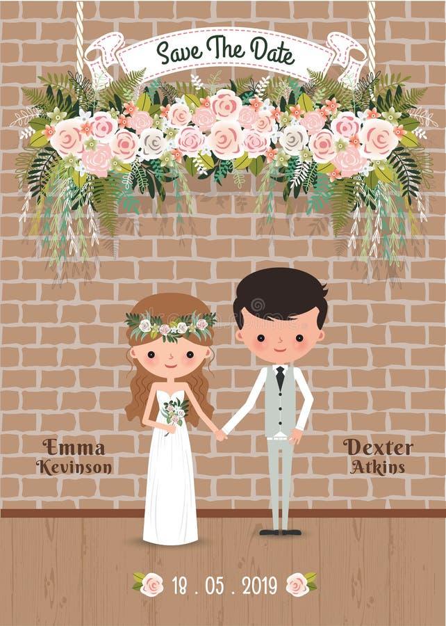 I fiori rustici del fiore delle coppie del fumetto conservano la carta dell'invito di nozze della data illustrazione vettoriale