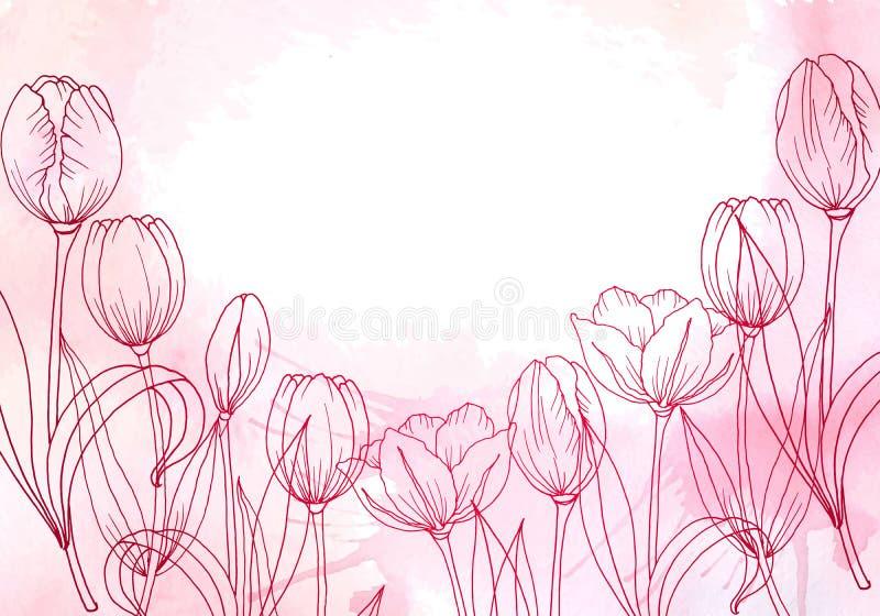 I fiori tirati Insegna o carta watercolor royalty illustrazione gratis