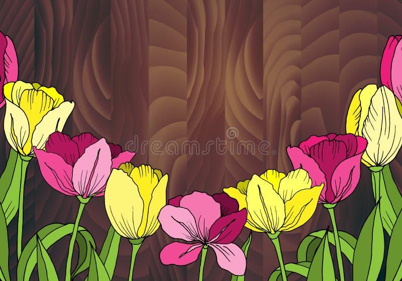 I fiori tirati Insegna o carta watercolor illustrazione di stock