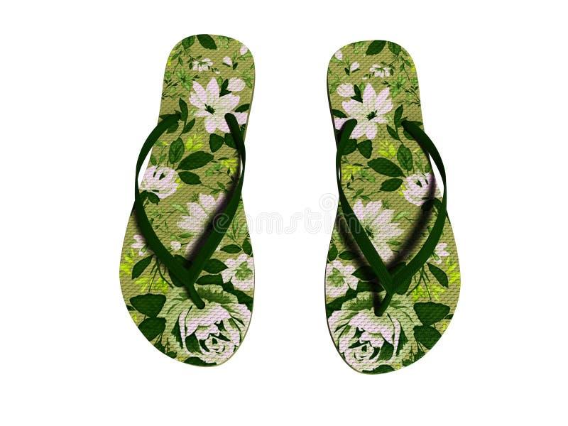 I fiori verdi tirano le pantofole in secco per il punto di vista superiore 3d della ragazza per non rendere su fondo bianco ombra fotografia stock libera da diritti