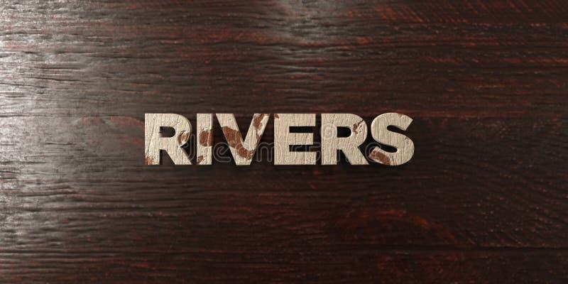 I fiumi - titolo di legno grungy sull'acero - 3D hanno reso l'immagine di riserva libera della sovranità illustrazione di stock