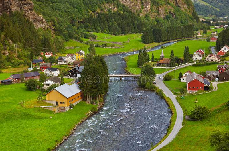 By i Flam - Norge arkivfoto